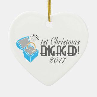 1. Weihnachtsverlobte Verzierung vom 2017 Keramik Ornament