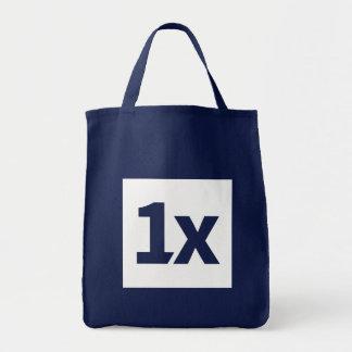 1x blue shopping bag with white 1x logo tragetasche