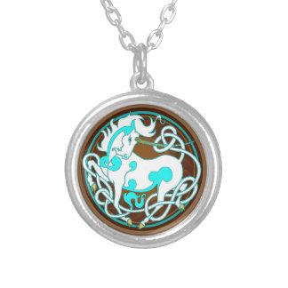 2014 Nerz-Art-Einhorn-Halskette - Weiß/Blau Versilberte Kette