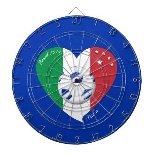 2014 weltweiter FUSSBALL von ITALIEN Flagge und bl Dart-scheibe