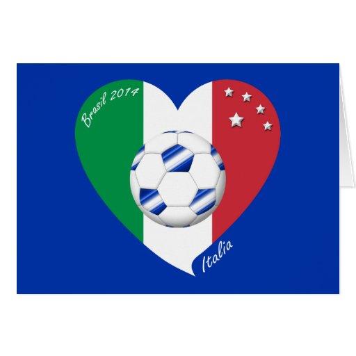 2014 weltweiter FUSSBALL von ITALIEN Flagge und bl Karten