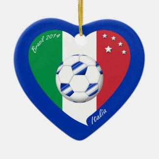 2014 weltweiter FUSSBALL von ITALIEN Flagge und bl Keramik Herz-Ornament
