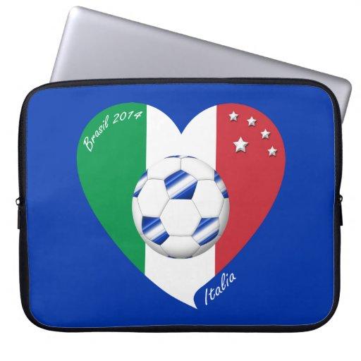 2014 weltweiter FUSSBALL von ITALIEN Flagge und bl Computer Schutzhülle