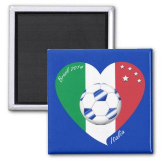 2014 weltweiter FUSSBALL von ITALIEN Flagge und bl Kühlschrankmagnet