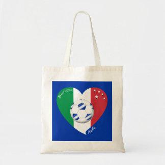 2014 weltweiter FUSSBALL von ITALIEN Flagge und bl Einkaufstasche
