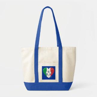 2014 weltweiter FUSSBALL von ITALIEN Flagge und bl Leinentasche