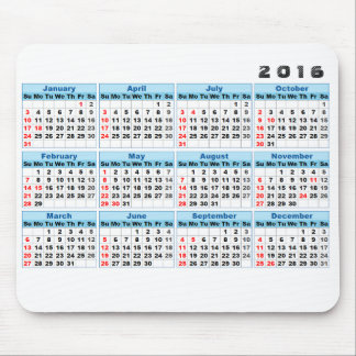 2016 Kalender-Mausunterlage einfach Mousepad