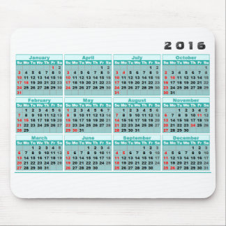 2016 Kalender Mousepad einfacher Türkis