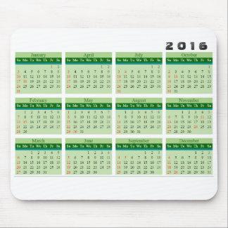 2016 Kalender Mousepad einfaches Grün