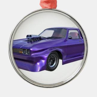 2016 lila Muskel-Auto Rundes Silberfarbenes Ornament