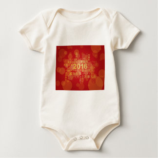 2016 Neujahrsfest-Wort-Wolken-Rot-Hintergrund Baby Strampler
