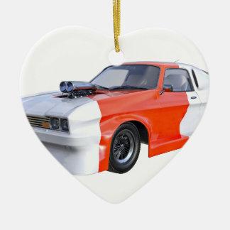 2016 orange und weißes Muskel-Auto Keramik Herz-Ornament