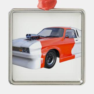2016 orange und weißes Muskel-Auto Quadratisches Silberfarbenes Ornament