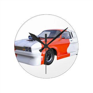 2016 orange und weißes Muskel-Auto Runde Wanduhr