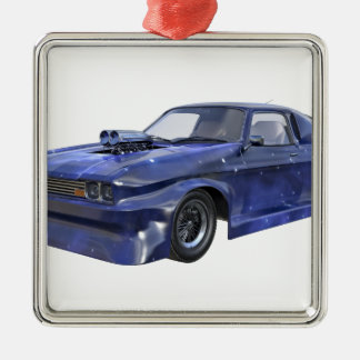 2016 Stern-blaues Muskel-Auto Quadratisches Silberfarbenes Ornament