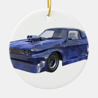 2016 Stern-blaues Muskel-Auto Rundes Keramik Ornament