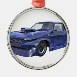 2016 Stern-blaues Muskel-Auto Silbernes Ornament