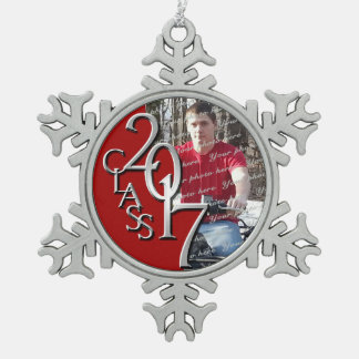 2017 rotes und silbernes graduiertes Foto Schneeflocken Zinn-Ornament