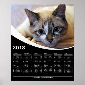 2018 anstarrender Katzen-Tier-Plakat-Kalender Poster