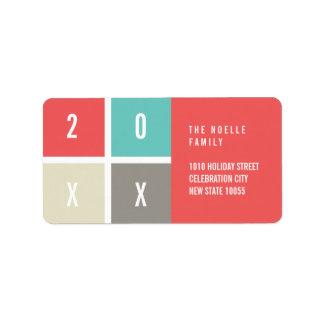 2018 Farbblock-Neujahrsfeiertag-Adressen-Etiketten Adressaufkleber