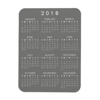 2018 Kalender-Magnet - mittleres Grau Magnet
