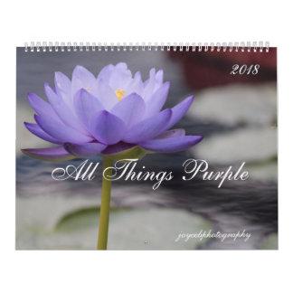 2018 lila Blumen des Kalenders Kalender