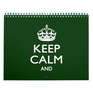 2018 Monats BEHALTEN Sie RUHIGES Waldgrün Ihr Text Kalender