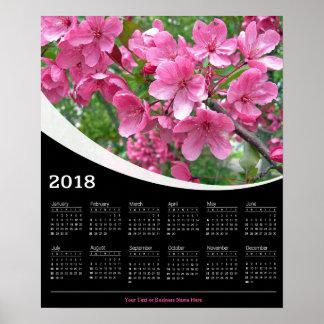2018 rosa Kirschblüten auf schwarzem Poster