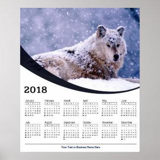 2018 Winter-Wolf-stillstehender Poster