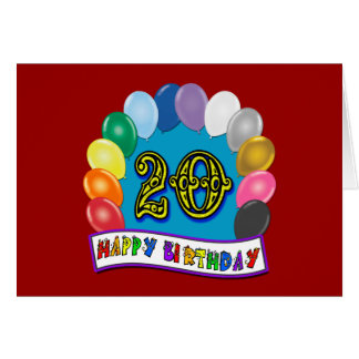20. Geburtstags-Geschenke mit sortiertem Karte