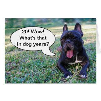 20. Geburtstags-Hundejahr-französische Karte
