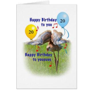 20. Geburtstags-Karte mit Sandhill Kran-Küken Karte