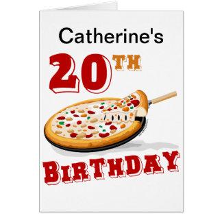 20. Geburtstags-Pizza-Party Karte