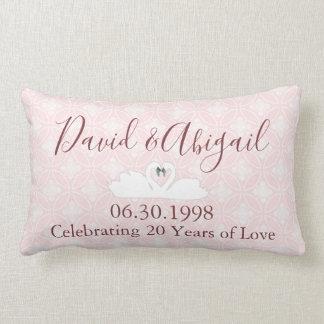 20. Hochzeitstag-rosa und weißer Damast Lendenkissen