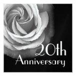 20. Jahr-Jahrestags-Einladung - WEISSE Rose Quadratische 13,3 Cm Einladungskarte