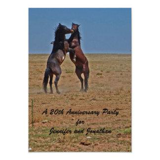 20. Jahrestags-Party Einladungs-Tanzen-Pferde Karte