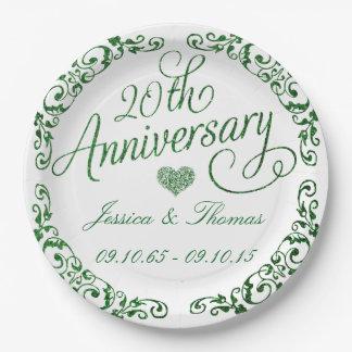 20. Smaragdhochzeits-Jahrestags-Papier-Teller Pappteller