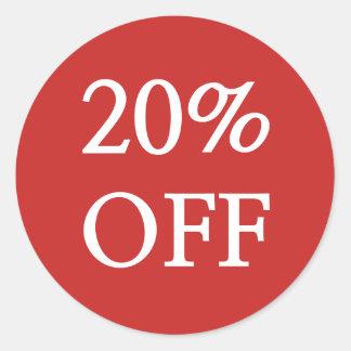 20% WEG von den Verkaufs-Aufklebern Runder Aufkleber