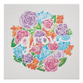 "20"" x20"" wachsen Watercolor-Blumen-Plakat Perfektes Poster"