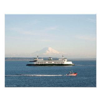 20X16 der Mount Rainier von Puget Sound Fotodruck