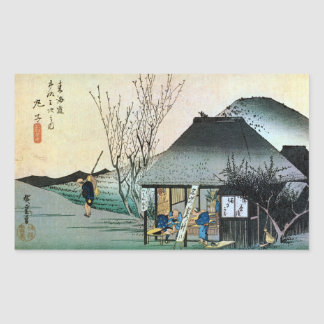 21. 丸子宿, 広重 Maruko-juku, Hiroshige, Ukiyo-e Rechteckige Aufkleber