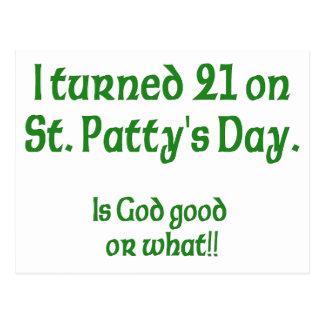 "21 auf s-Tag St. Patty "" Postkarte"