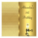 21. Bezaubernder GoldGlitter Geburtstags-Champagne Personalisierte Ankündigungen