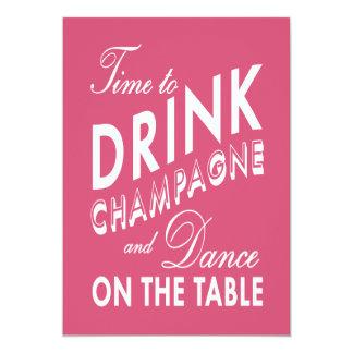 21. Geburtstag laden Zeit ein, Champagne-Rosa zu 12,7 X 17,8 Cm Einladungskarte