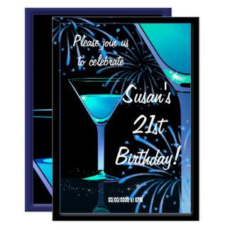 21. Geburtstags-blaues Martini-Cocktail-Party Karte