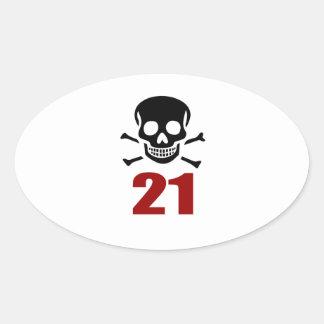 21 Geburtstags-Entwürfe Ovaler Aufkleber