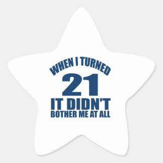 21 Geburtstags-Entwürfe Stern-Aufkleber