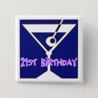 21. Geburtstags-Geschenke Martinis Quadratischer Button 5,1 Cm