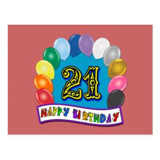 21. Geburtstags-Geschenke mit sortiertem Postkarte