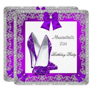21. Geburtstags-Glitzer-lila hohe Fersen-Schuh 3 Karte